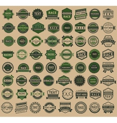 Racing badges - vintage style big green set vector image