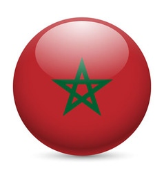 Round glossy icon of morocco vector image