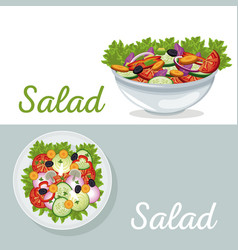 salad vegetables nutrition dinner poster vector image