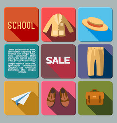 sale of school supplies icons set vector image