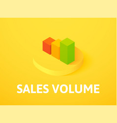 Sales volume isometric icon isolated on color vector