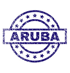 Scratched textured aruba stamp seal vector