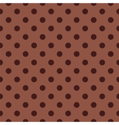Seamless dark brown pattern with polka dots vector