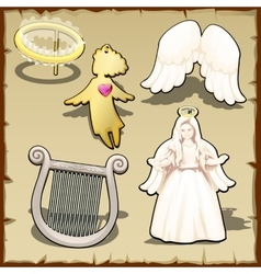 Set angelic halo harp wings and other vector