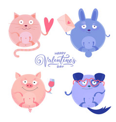 set cute round cat pig rabbit and dog vector image