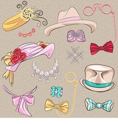 Set hipster millinery scarves bows jewelry glasses vector