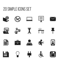 Set of 20 editable bureau icons includes symbols vector