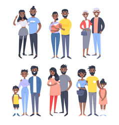 Set of different black couples and families vector