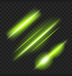 set of green glowing light effect isolated on vector image