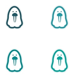 Set of paper stickers on white background Arctic vector