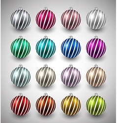 Set of realistic color christmas balls vector image