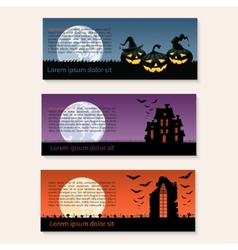 set three halloween banners vector image