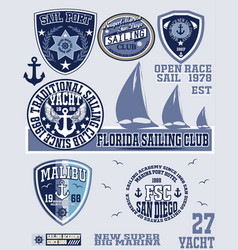 set vintage retro nautical badges and labels vector image
