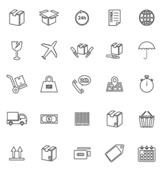 Shipping line icons on white background vector image