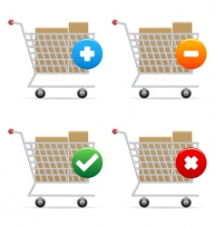 shopping carts icons vector image