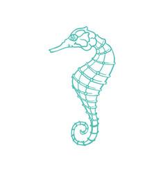 sketch seahorse oceanairum animal art line icon vector image