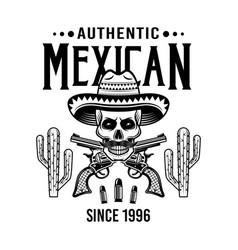 Skull mexican bandit in sombrero and crossed vector