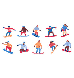 snowboarding winter extreme activity people vector image