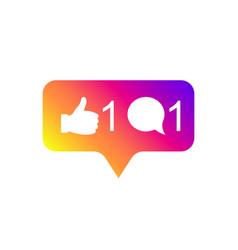 social media modern like 1 comment 1 gradient vector image