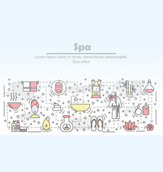Spa salon advertising flat line art vector
