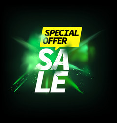 Special offer sale concept green powder explosion vector
