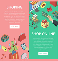 supermarket online shopping vertical flyers vector image