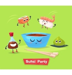 Sushi party soy sauce and roll japanese vector