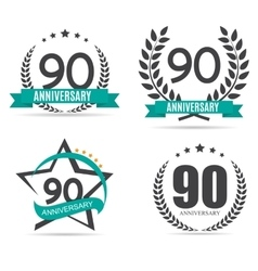 Template Logo 90 Years Anniversary Set vector
