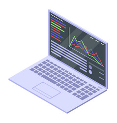 Trader laptop icon isometric style vector
