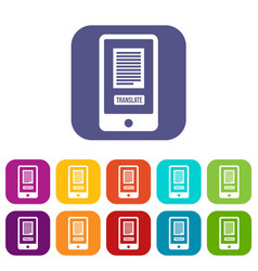 Translate application on a smartphone icons set vector