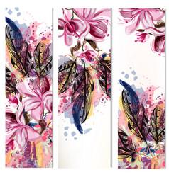 Vertical brochures set with magnolia flowers vector