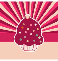 Vintage Cupcakes Card Background vector image