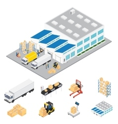 Warehouse Industrial Area Isometric vector image
