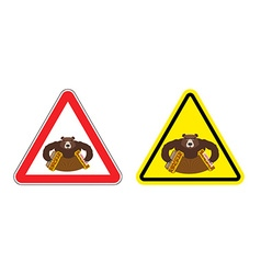 Warning sign drunk Russian tourist attention vector image