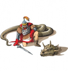 warrior and a giant snake vector image