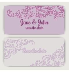 Wedding invitation cards in pink color vector