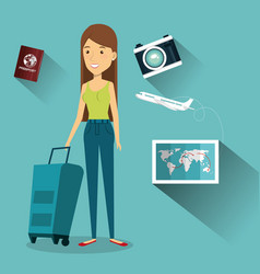Woman character with suitcase travel vector