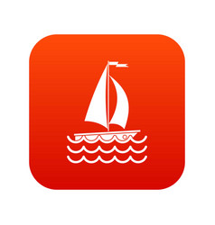Yacht icon digital red vector