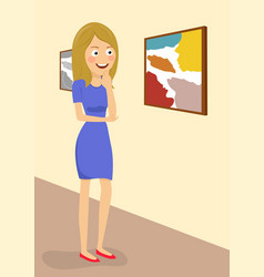 young woman in gallery room looking at paintings vector image