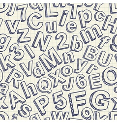 Abstract doodle font seamless pattern vector image