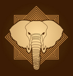 angry elephant head front view vector image