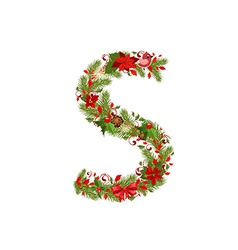 christmas floral tree letter S vector image