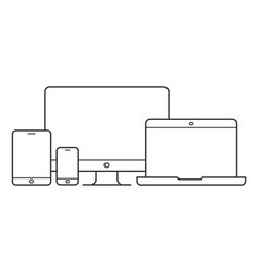 device and gadget line art set vector image vector image