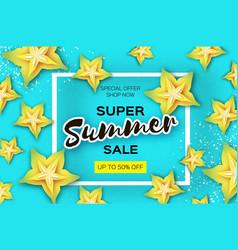 Exotic yellow carambola star fruit summer sale vector