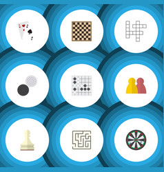 flat icon games set of chess table pawn arrow vector image