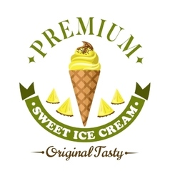 Fruity ice cream cone badge with fresh fruits vector image