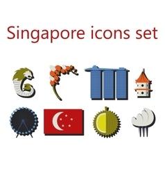 singapore flat icons set vector image