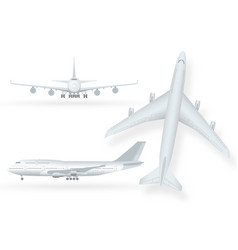 White airplane icon set on a white background in vector