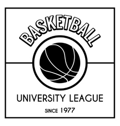 Black and white basketball emblem vector image vector image