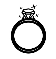 black ring with diamond vector image